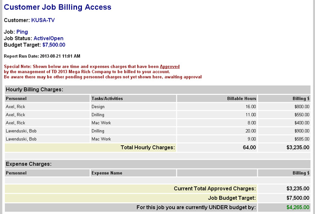 Customer Billing Review Function Screenshot