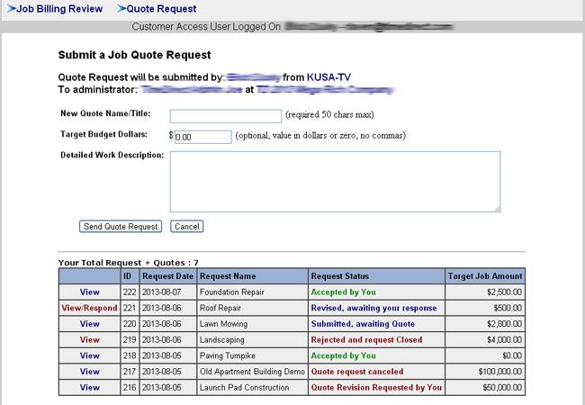 Customer Quote Request ScreenShot
